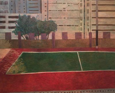 《工廠區旁的操場》,油彩布本,2014